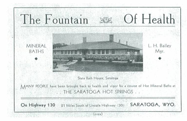"Health and pleasure seekers will find the Saratoga Hot Springs a most desirable place for an outing or a restful vacation, as well as a real Fountain of Health, for those afflicted with rheumatism, neuritis, blood and skin diseas­es, and kindred ailments"", expounds a 1930's advertisement for the State Bath House in the Saratoga Hot Springs State Park."
