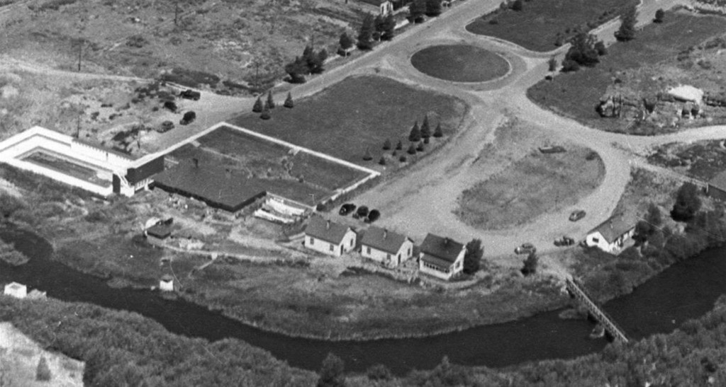 This 1940's aerial photo by Saratoga Sun editor and publisher Bob Martin shows the famous mineral hot springs and Saratoga State Park property. The facility included the brick bath house, two swim­ming pools—left and right of bath house—four living quarters and several maintenance shops.