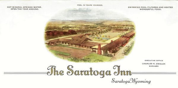This is the architect's drawing of the Sarato­ga Inn as it would appear when the exten­sive development project by the Saratoga Hotel Company is completed and the resort is ready for full-scale operation. The plan includes a new hotel, swimming pool, sunken garden and 9-hole golf course. The state cottages and bath house are to remain in use, all built around the famous mineral hot springs.