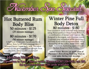 November Spa Specials from Healing Waters Spa