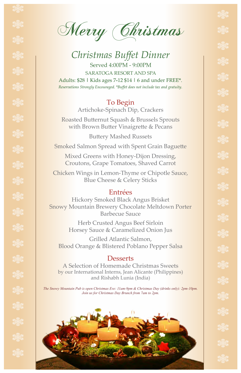 Join us for a Christmas Day Dinner and New Years Eve Buffet!