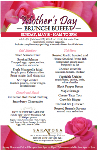 Saratoga Resort and Spa Mother's Day Brunch Buffet Menu