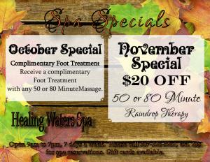 October and November 2016 Spa Specials — Healing Waters Spa