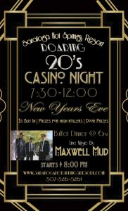 Maxwell Mud to Headline Roaring 20's NYE Casino Night at Saratoga Hot Springs Resort!