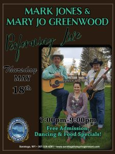 May 18th, 2017: Mark Jones and Mary Jo Greenwood Performing Live at Saratoga Hot Springs Resort