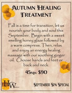 Autumn Healing Treatment — September Healing Waters Spa Special in Saratoga, Wyoming autumn healing treatment healing waters spa special saratoga hot springs resort saratoga wyoming flier