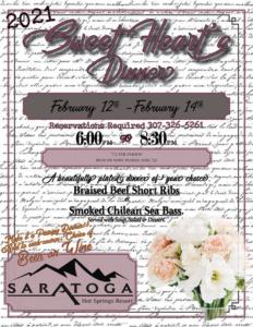 Sweet Hearts Dinner Menu - Saratoga Hot Springs Resort1
